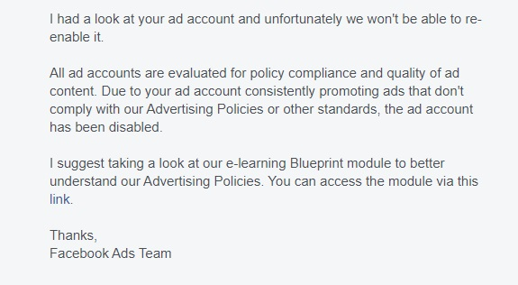 Facebook advert response 2