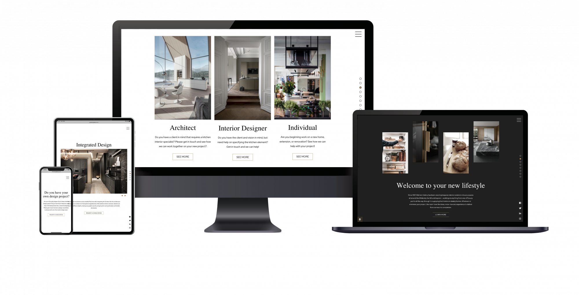 Kitchen Gallery website on various Devices mockup