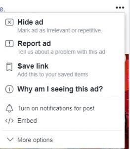 Report a Facebook advert 1