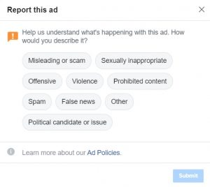 Report a Facebook advert 2