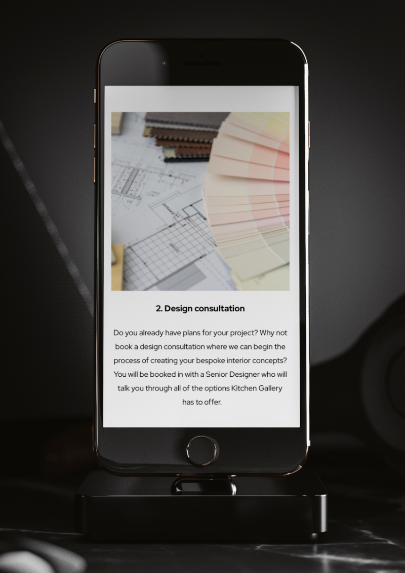 Kitchen Gallery Design Journey Section on mobile