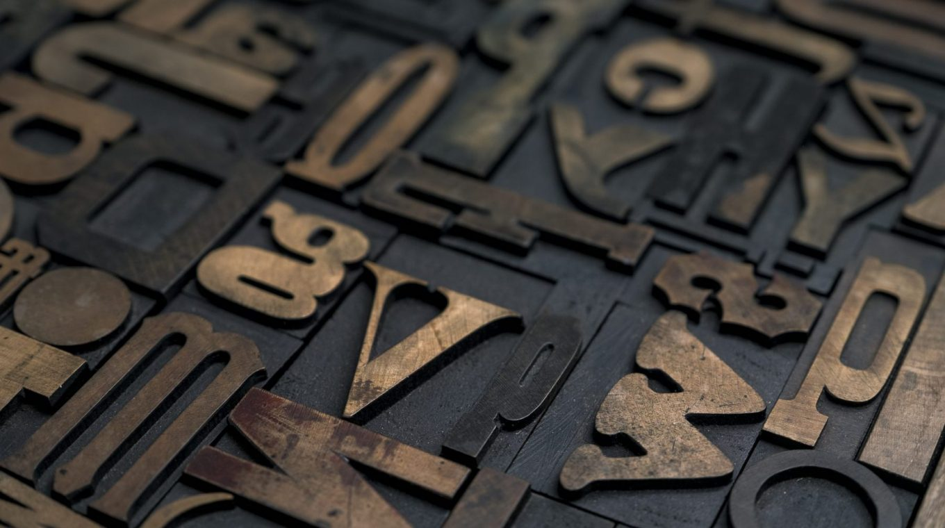 letterpress blocks showing typeface and font